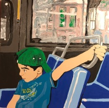 """Boy on a Bus"" 12""x12"" Enamel on Wood"