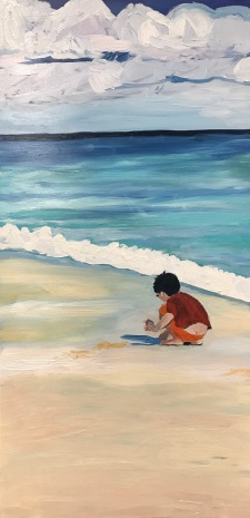 """Beach Boy"" 12'x24"" Oil on Panel"