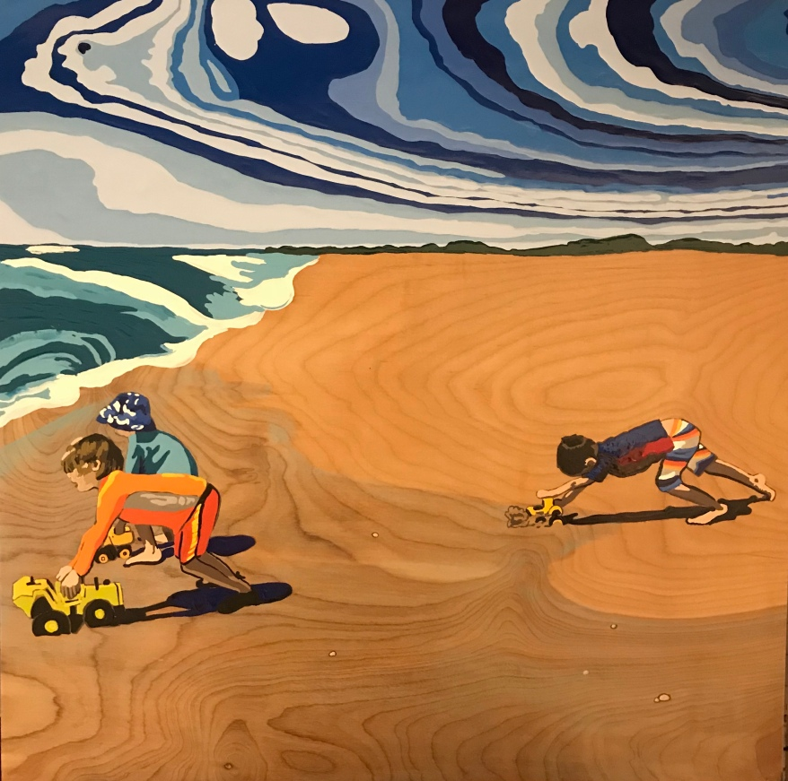 """Beach Trucks"" 24"" x 24"" Enamel on Wood 2017"